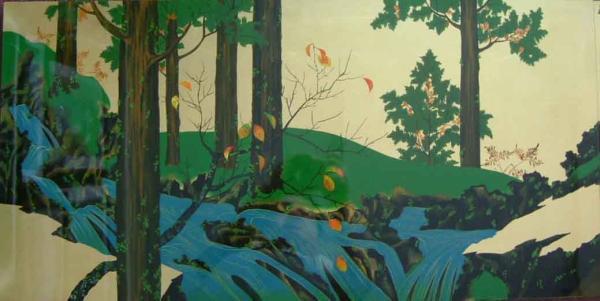 漆絵 鈴木其一の名作「夏秋渓流図」