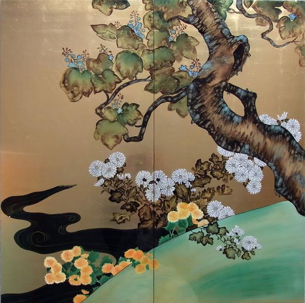 特価漆絵 酒井抱一の名作「桐菊流水図」