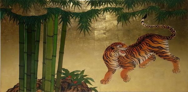 名画 絵画 漆  漆絵 狩野山雪の名作「竹に虎図」