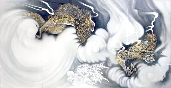 漆絵 円山応挙の名作「雲龍図」左隻