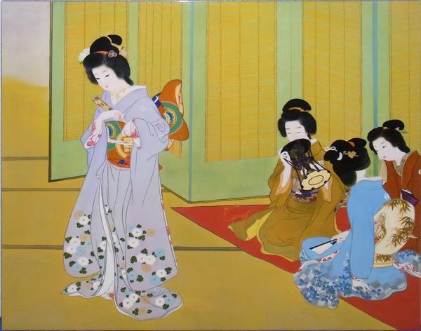 名画 絵画 漆  漆絵 上村松園の名作「舞仕度」