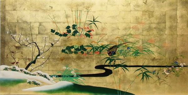 漆絵 酒井抱一の名作「四季花鳥図」