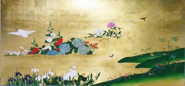 名画 絵画 漆  漆絵 酒井抱一の名作「四季花鳥図」右隻