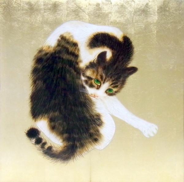 漆絵 竹内栖鳳の名作_班猫
