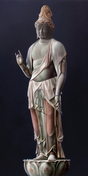 絵画 漆 菩薩  漆絵 秋篠寺の伎芸天