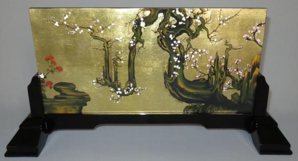 漆絵 狩野山雪の名作「老梅図」 専用漆スタンド付
