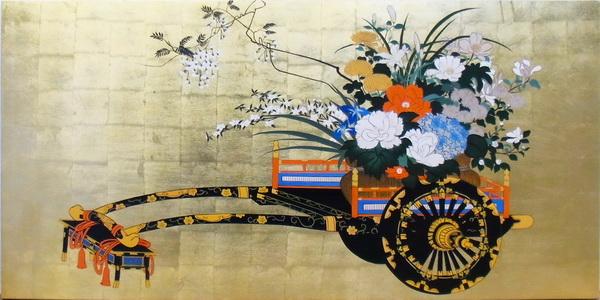 特価漆絵 花車図 5
