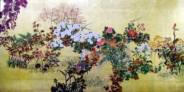 名画 絵画 漆  漆絵 渡辺始興の名作「四季の花々」左隻