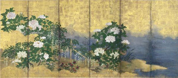 名画 絵画 漆  漆絵 夏の花々図(牡丹、ツツジ、藤)