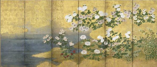 漆絵 秋の花々図(菊、牡丹、萩)