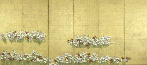 名画 絵画 漆  漆絵 撫子(なでしこ)図_右隻