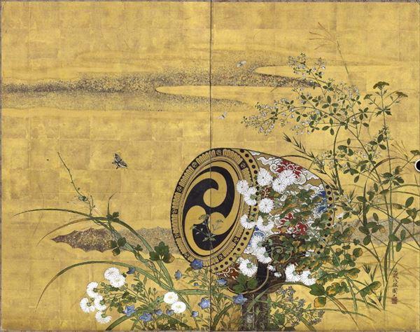 漆絵 勝山琢眼の名作_太鼓と秋の七草と蝶図