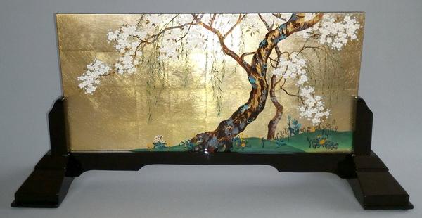 名画 絵画 漆  漆絵 酒井抱一の名作「桜図」 専用スタンド付