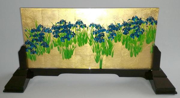 名画 絵画 漆  漆絵 尾形光琳の名作「燕子花(かきつばた)図」右隻 専用スタンド付