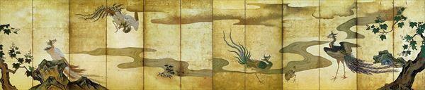名画 絵画 漆  漆絵 狩野探幽の名作_鳳凰図