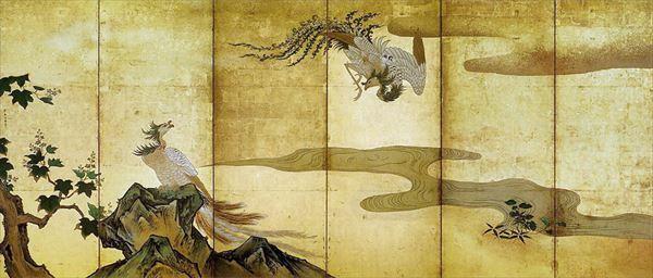 名画 絵画 漆  漆絵 狩野探幽の名作_鳳凰図・左隻