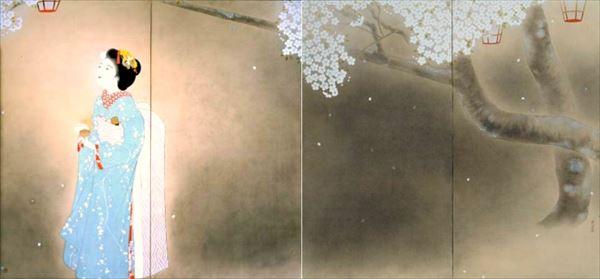 漆絵 北野恒富の名作_夜桜