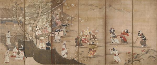 名画 絵画 漆  漆絵 狩野長信の名作_花下遊楽図(かかゆうらくず)・左隻