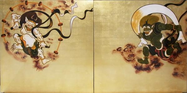 漆絵 俵屋宗達の名作「国宝・風神雷神図」