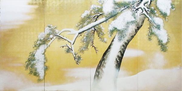 名画 絵画 漆  漆絵 円山応挙の名作「雪松図」右隻