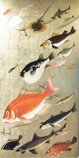 名画 絵画 漆  漆絵 伊藤若冲の名作_群魚図 鯛