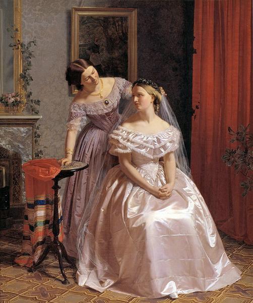 油絵 ヘンリク・オルリックの名作_友人に飾られる花嫁