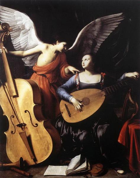 油絵 SARACENI_Carloの名作_聖セシリアとエンジェル