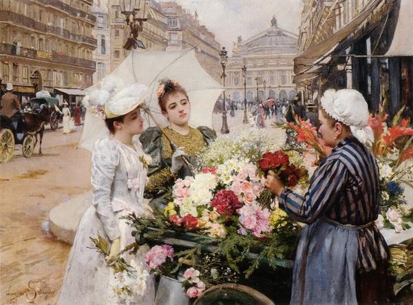 名画 正規激安 絵画 油絵 Schryver 大人気! Marie deの名作_パリ オペラ座通りの花売り Louis
