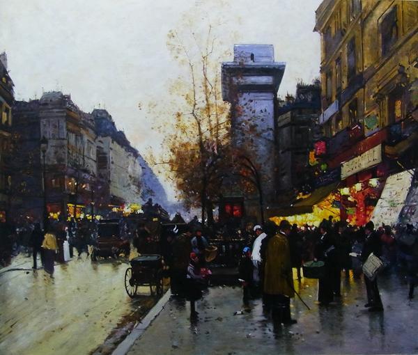 名画 市販 絵画 油絵 Galien-Laloue_パリの夕暮れ 送料無料 Eugene