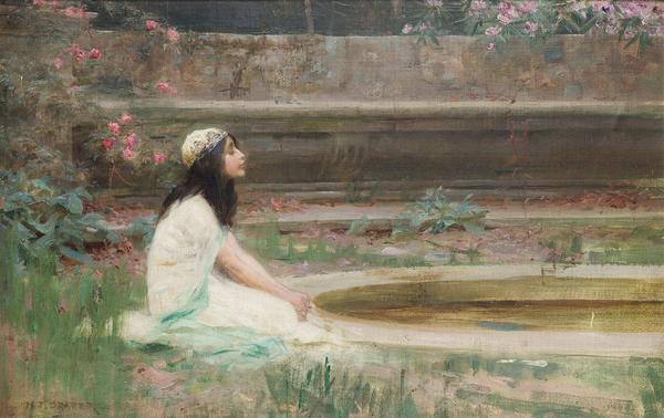 名画 送料無料 付与 絵画 油絵 ハーバート ドレイパー_池の畔の少女 ジェームズ
