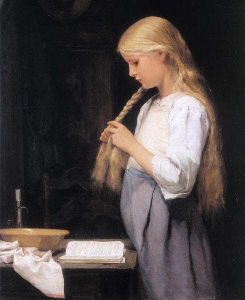 油絵 Albert Anker_髪を編む少女