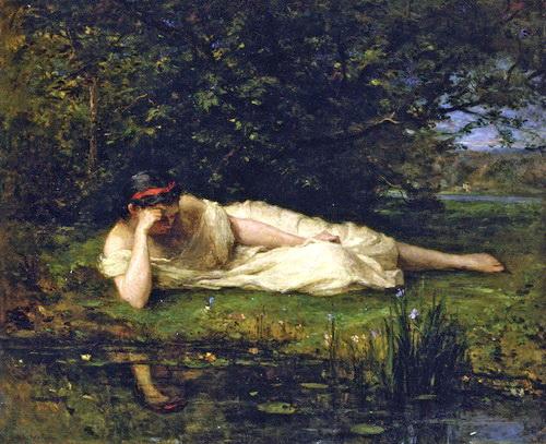 本物保証!  油絵 Berthe Morisot_水辺にて, カモグン 034f9452