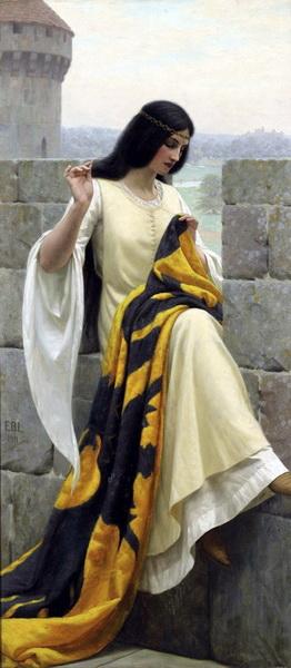 名画 NEW アウトレットセール 特集 ARRIVAL 絵画 油絵 Leighton_隊旗を縫う Blair Edmund