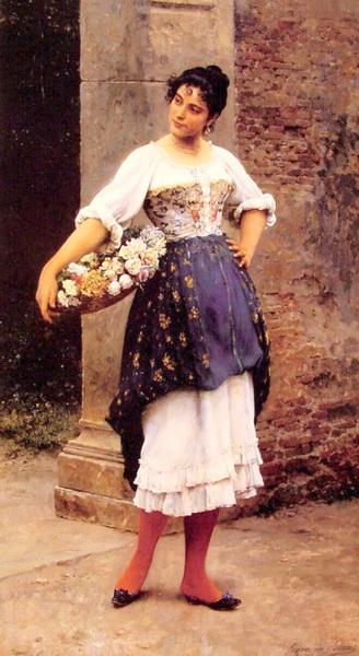 名画 絵画 油絵 Eugene de Blaas_ お得クーポン発行中 ベネチアの花売り女性 期間限定特別価格