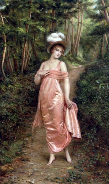 名画 人気急上昇 絵画 油絵 [並行輸入品] Soulacroix_ Frédéric 森の中のエレガント女性