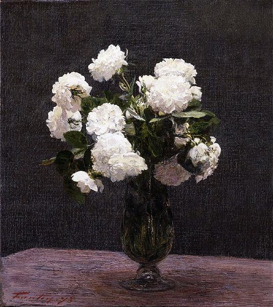 油絵 Henri Fantin-Latour_白いバラ