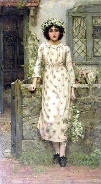 名画 絵画 油絵 Herbert Gustave Schmalz_ 5月の女王 迅速な対応で商品をお届け致します NEW