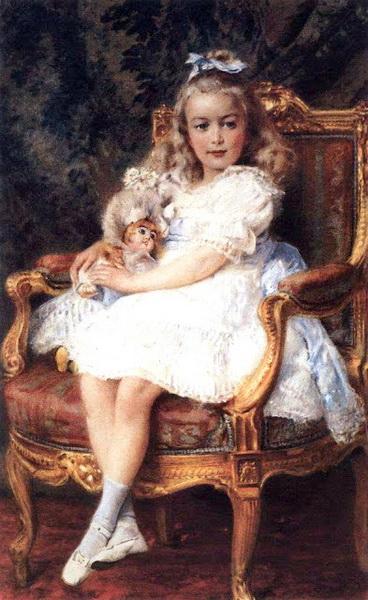 名画 絵画 油絵 Konstantin 評価 Makovsky_ 椅子に座る少女 新作通販