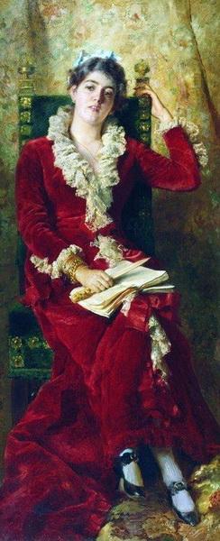 名画 絵画 油絵 激安☆超特価 赤いドレスの女 ショップ Makovsky_ Konstantin