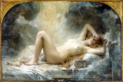 油絵 Léon François Comerre_ ベッドの裸婦