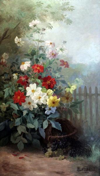 名画 絵画 油絵 正規認証品!新規格 Barbaud Koch 激安通販 Marthe_ 庭の花