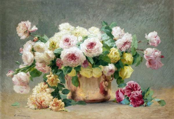 名画 絵画 油絵 スーパーセール 花瓶の花 Emile_ Vernon 超美品再入荷品質至上