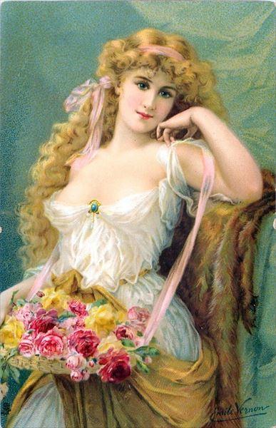 油絵 Vernon Emile 花と女