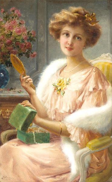 格安店 名画 絵画 油絵 鏡を手にする婦人 Vernon 今だけ限定15%OFFクーポン発行中 Emile_