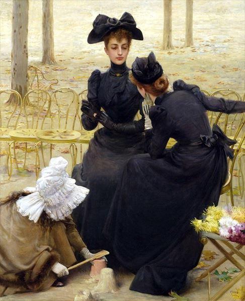 名画 絵画 油絵 Vittorio 現品 Corcos_ Matteo セール特価 ルクセンブルグ公園での談笑
