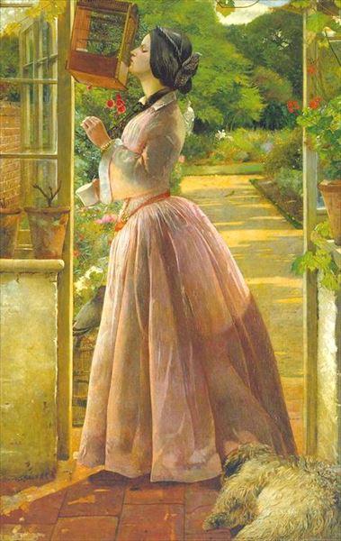名画 絵画 油絵 WEB限定 Walter Howell 至高 小鳥と女性 Deverell_