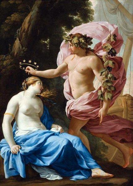 名画 絵画 未使用 油絵 誕生日プレゼント Eustache Sueur_ le バッカスとアリアドネ