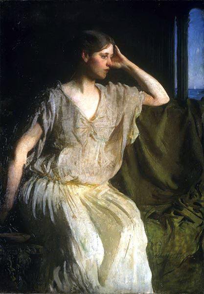 名画 絵画 大幅にプライスダウン 油絵 Abbott 引出物 Handerson ギリシャ風衣装の女 - Thayer