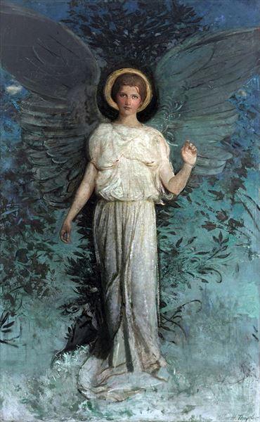 名画 開店記念セール 絵画 油絵 Abbott Handerson 高品質新品 Thayer 翼を持つ女 -