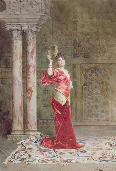 油絵 Alexandre-Louis Leloir - ダンサー